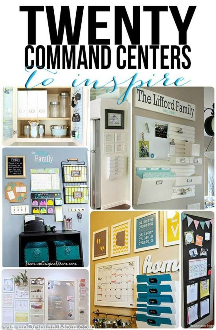 """A great list of 20 different organized """"command centers"""" - all kinds of different spaces and clutter solutions.  And they're pretty, too! #organization"""