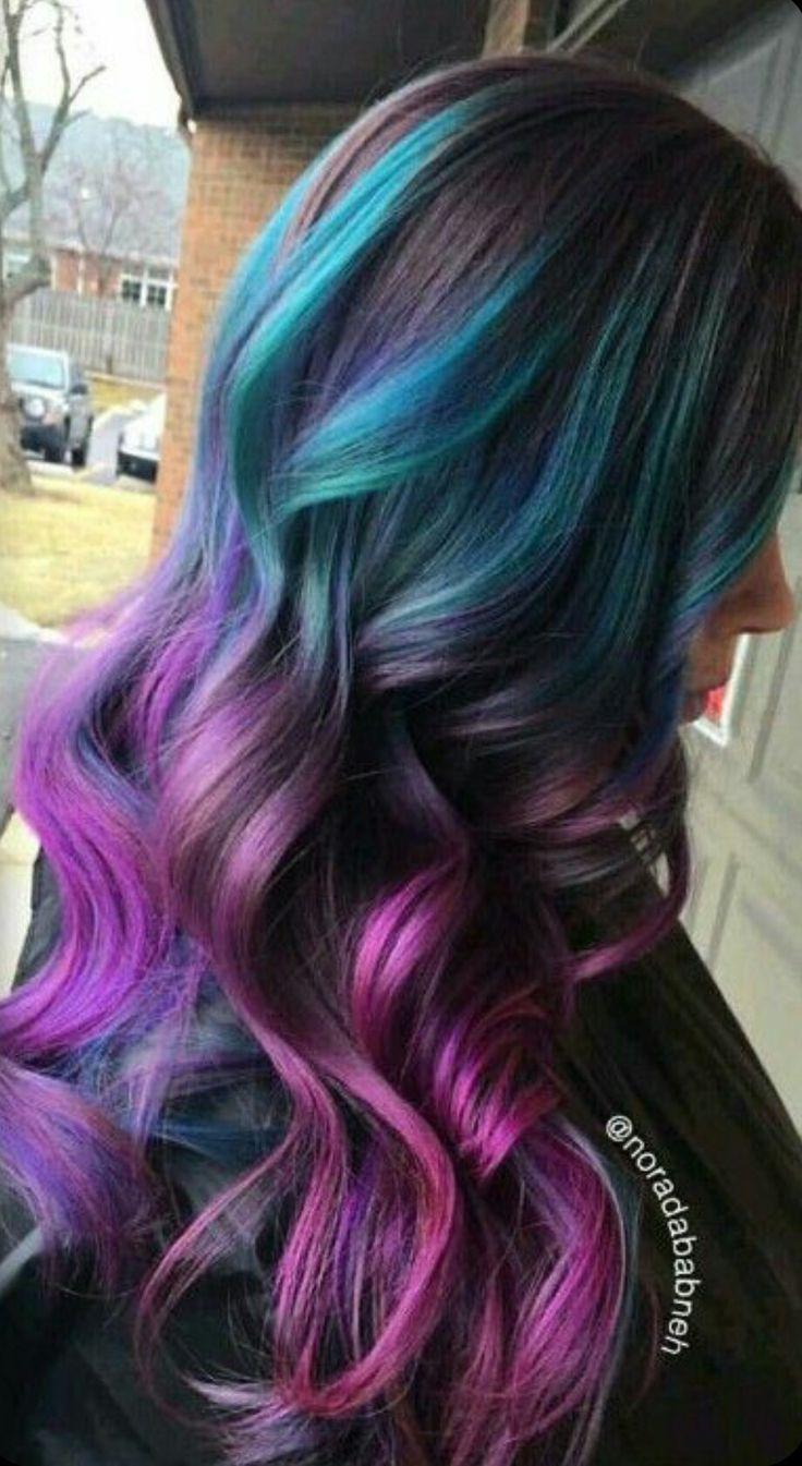 #raimbowhair #violethair #pinkhair #greenhair #mermaidhair #colorhair #violet #pink #green #hair #mermaid #raimbow #color br.pinterest.com/lele_4s
