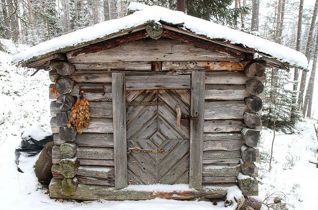 Small sauna and winter