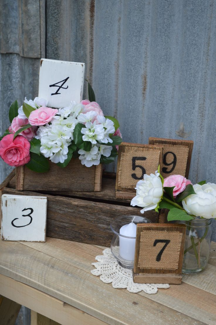 Rustic, vintage chic table numbers #queenstvintage #rusticprops #rusticweddings #recycledtimber #prophiresydney #vintageideas #rusticsigns #rusticdrinkstations #rusticsweettables #vintageweddings #rusticwishingwells #timberweddingsigns #drinkstations #photobooth #tablecentrepieces #caketables #tablenumbers