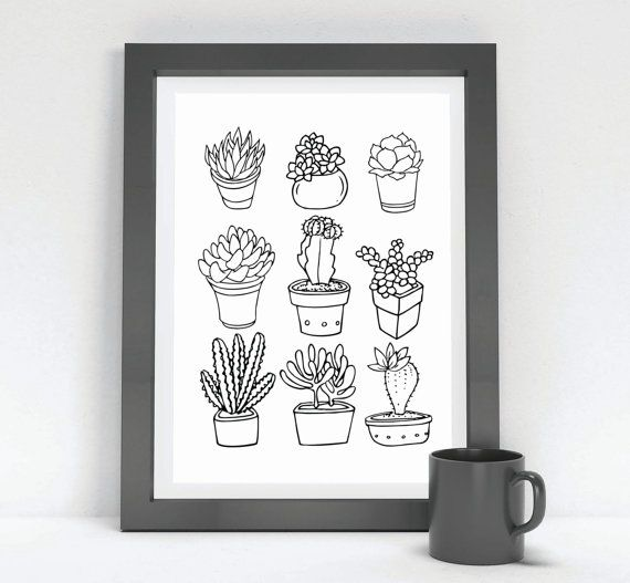 Printable Succulent Hipster Wall Art Funny Humor Gift Dorm Decor Black & White Print Succulents Cactus Boho Outdoor Wanderlust
