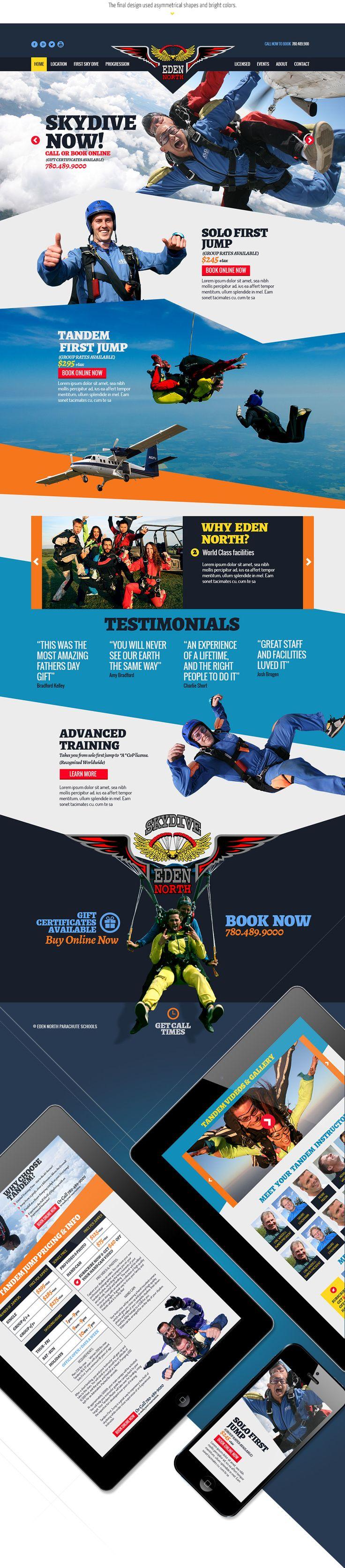 Eden North Skydiving Website Design Joseph Kiely