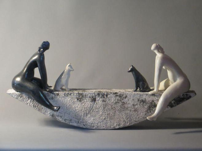 "Ingrid Dusselberg, ""Celebrate the Difference"", 25x60x15cm, ceramic slip, glaze surface"