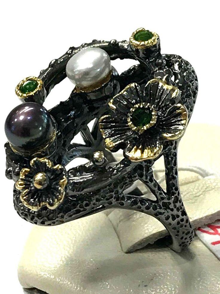 FineArt Jewelry White Black Pearl Peridot 925 Sterling Silver Ring Sz 5.5
