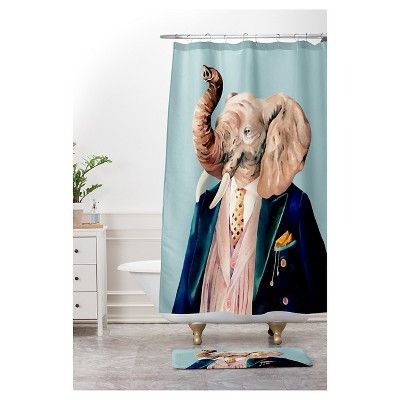 """Animal Crew Mr. Elephant Cushion Bath Mat Blue (36""""x24"""") - Deny Designs"""