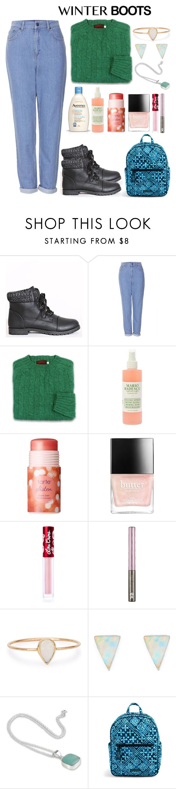 """""""Winter Boots"""" by sunrisemisty ❤ liked on Polyvore featuring Topshop, Mario Badescu Skin Care, Aveeno, tarte, Butter London, Lime Crime, Urban Decay, Catbird, Erica Weiner and NOVICA"""