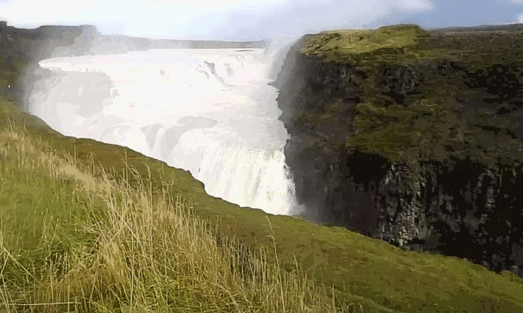Cinemagraph. Gullfoss waterfalls Iceland