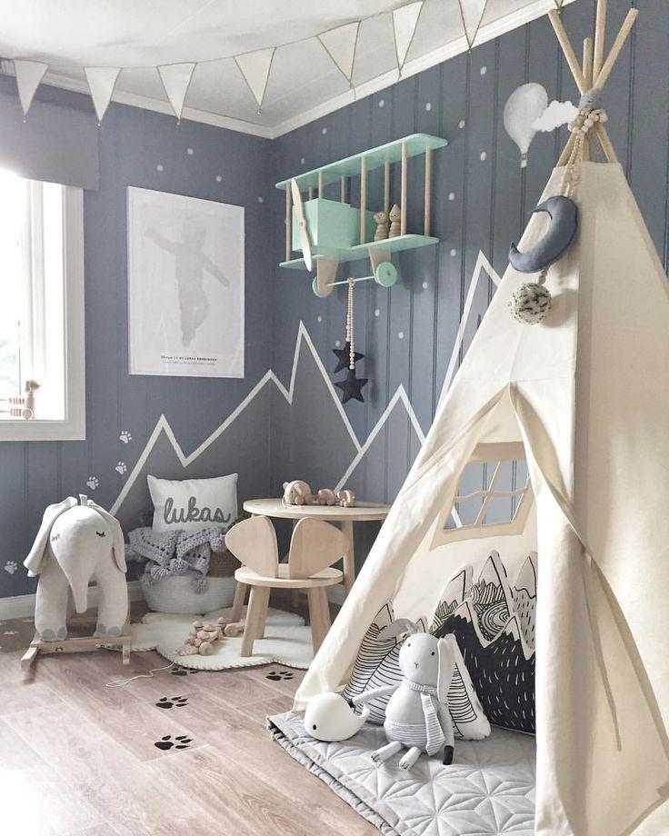Graue Wände im Kinderzimmer (➔ Instagram)