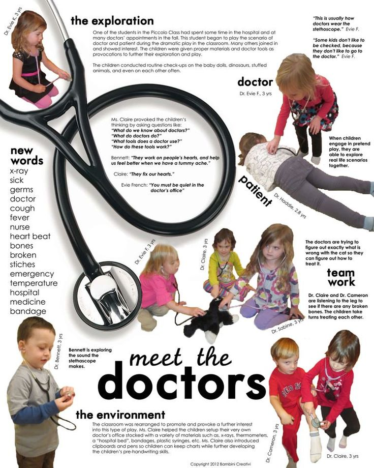 Documentation of students exploring the role of a doctor at Bambini Creativi in St. Louis, MO