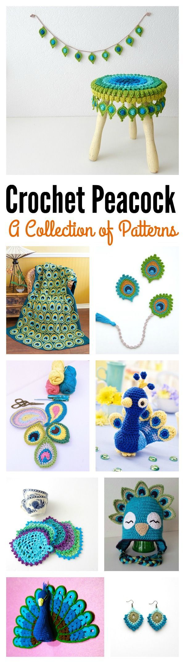 A Collection of Peacock Crochet Patterns | Bright, bold and beautiful