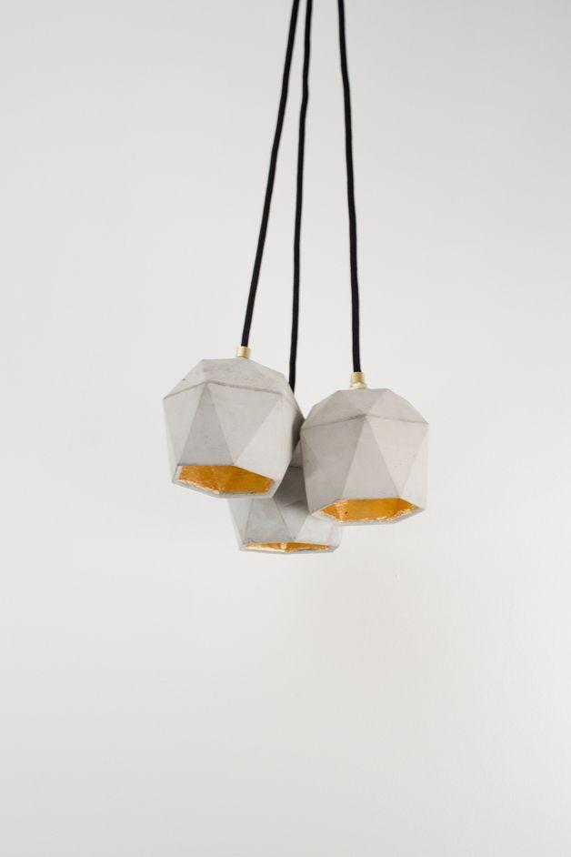 Perfect home decor. Geometrical Pendant Lighting / Modern Pendant light concrete gold triangulate – a unique product by GANTlights via en.DaWanda.com