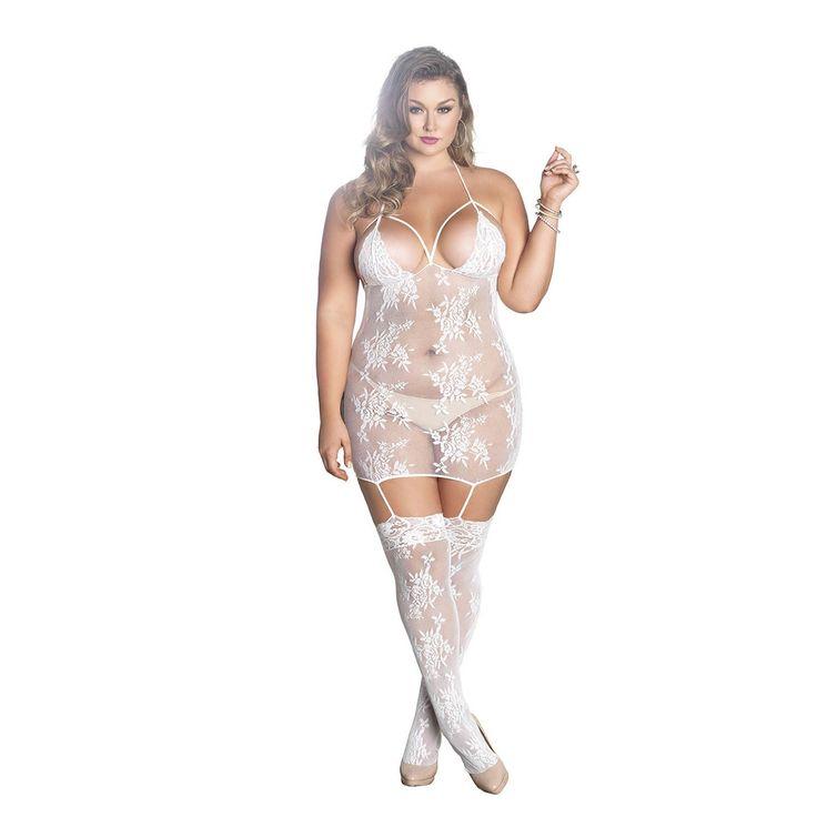 Leg Avenue Women's Plus Size Cage Strap Suspender Bodystocking Lingerie