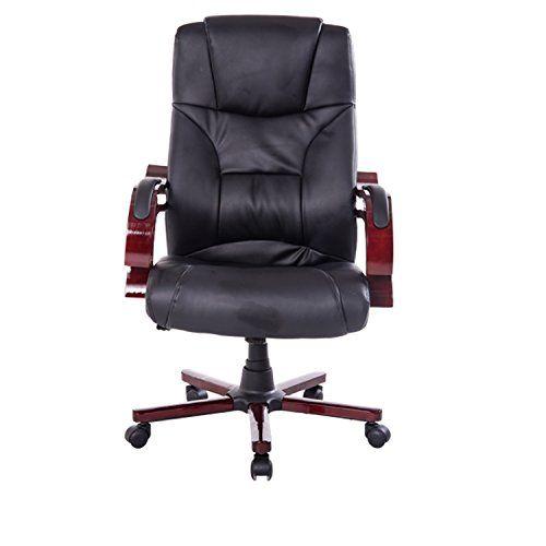 Chaise de bureau de luxe fauteuil pivotante ordinateur manager noir neuf 15 BK: -Matériaux: Surface en simicuir PU, bras et pied en bois ,…