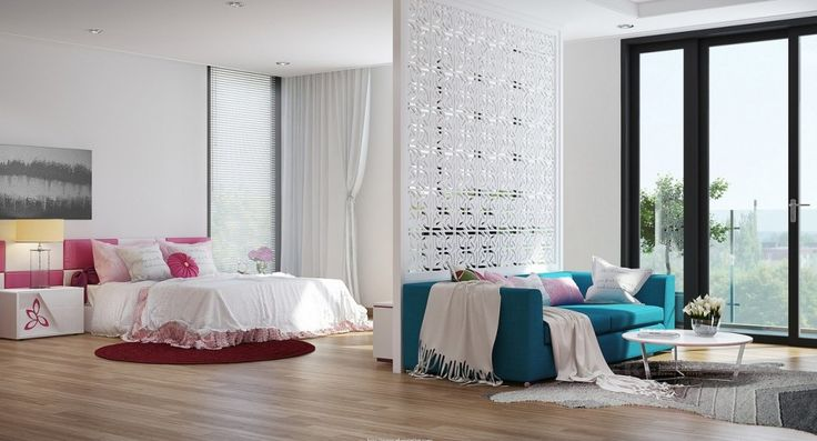 Home & Apartment, Pink Bedroom Scheme Also Teal Sofa In Modern Open Plan Houses Designs Plus Round Coffe Table With Beautiful White Divider And Round Brown Rug Also Nightstands Wall Art Decor Wooden Floor Laminating: Modern House Designs for Interior
