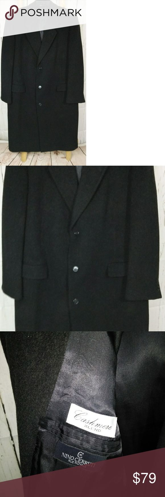 """Men's Cerruti long black cashmere/wool coat 44 L Beautiful coat in like new condition.  It has two   slit flap pockets on the outside and two pockets on the inside.  Beautifully lined, vented in the center back.  It is a size 44 long.  Measurements are 52"""" chest,  49"""" waist,  21"""" shoulders,  48"""" length and 28"""" sleeves.  Made by Nino Cerruti. Nino Cerruti Jackets & Coats Trench Coats"""