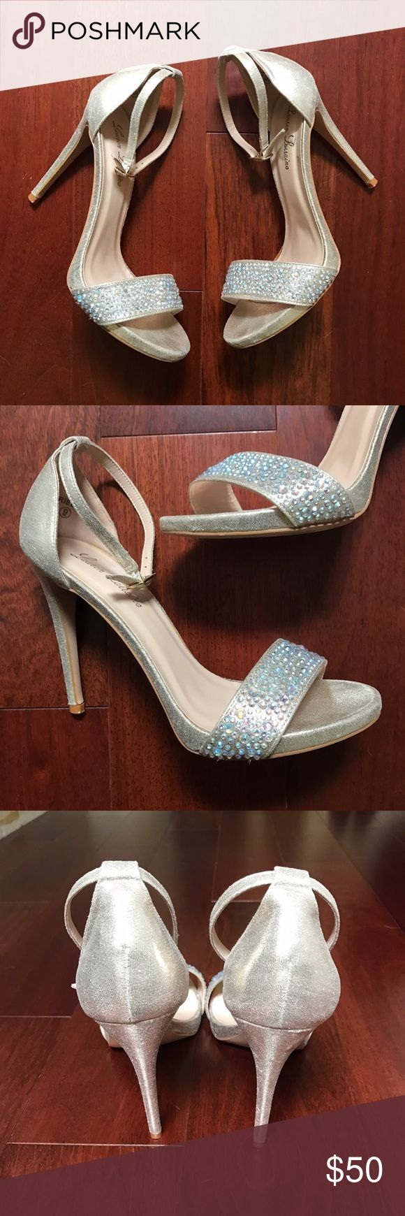 Lauren Lorraine Crystal Champagne Strappy Heels Stunning Cinderella crystal heels! They look way better in real life!! Perfect for as a wedding shoe, Prom, Formal Dance, Military Ball, bachelorette party!! In excellent condition! Beautiful champagne Metallic color! Shoes Heels