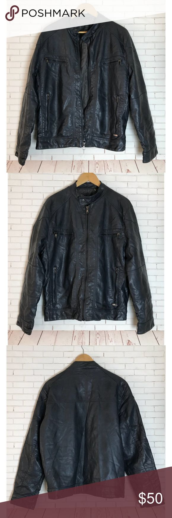 Calvin Klein Blue Faux Leather Size Men's Medium Calvin Klein blue faux leather jacket. Men's size Medium. Calvin Klein Jackets & Coats