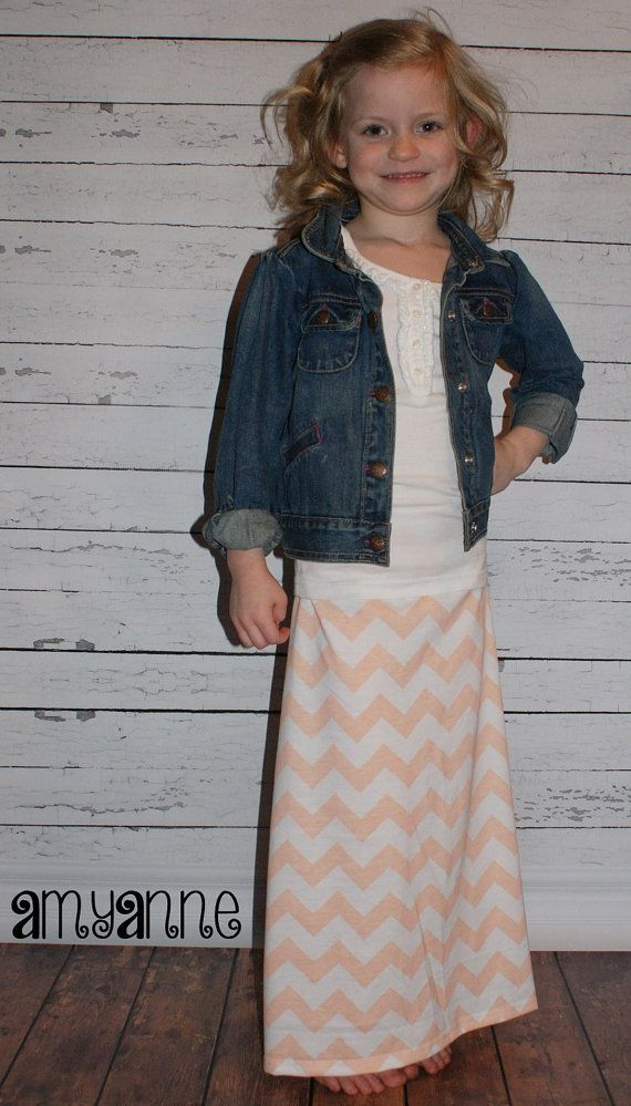Peach and White Jersey Knit Chevron Maxi Skirt Coral Long Modest Girls Kids  Childrens Size 2T - 10 Best Girls Maxi Skirts Images On Pinterest Chevron Maxi