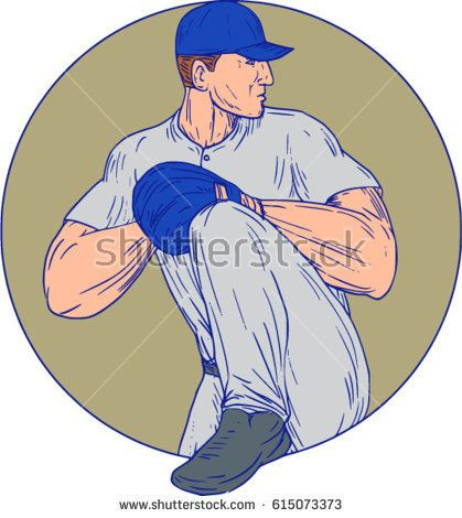 Drawing sketch style illustration of an american baseball player pitcher outfilelder about to throw a ball viewed from the side set inside circle on isolated background.  #baseball #drawing #illustration