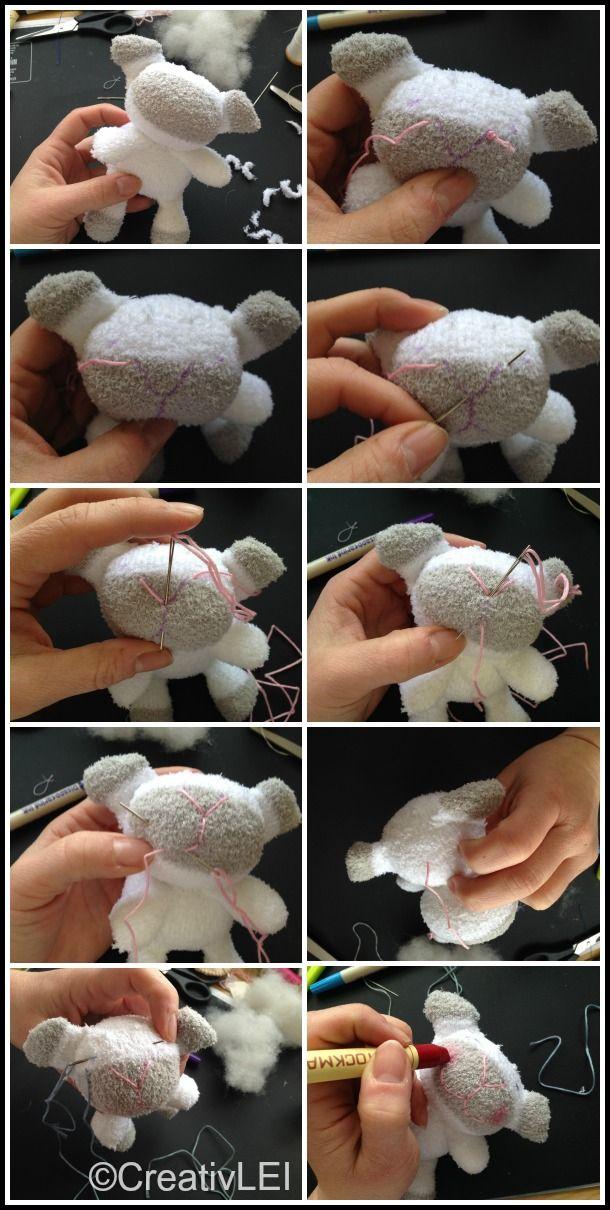 Embroidering the sheep sock doll face  CreativLEI.com