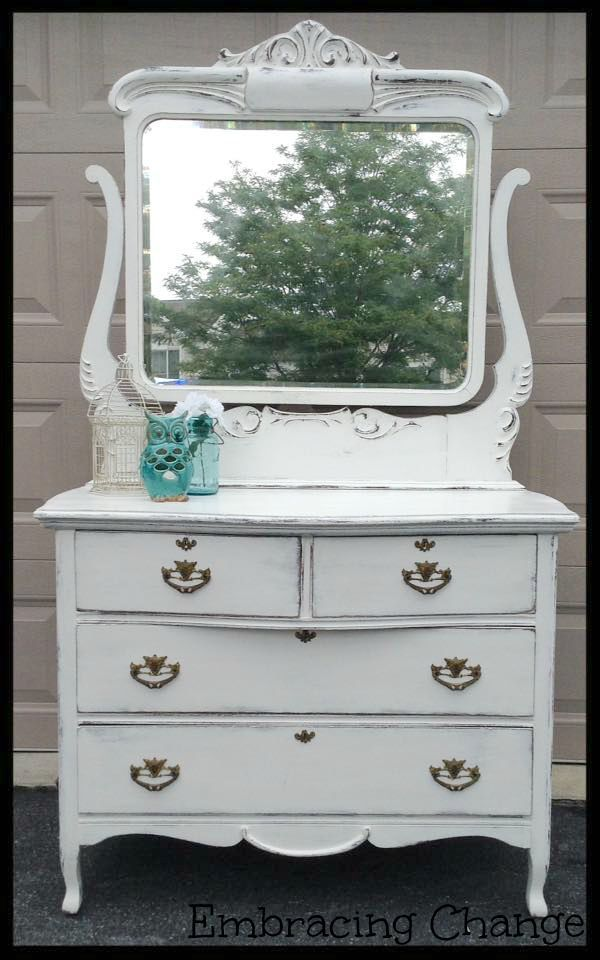 Victorian Dresser in Annie Sloan's Pure White Chalk Paint - Embracing Change