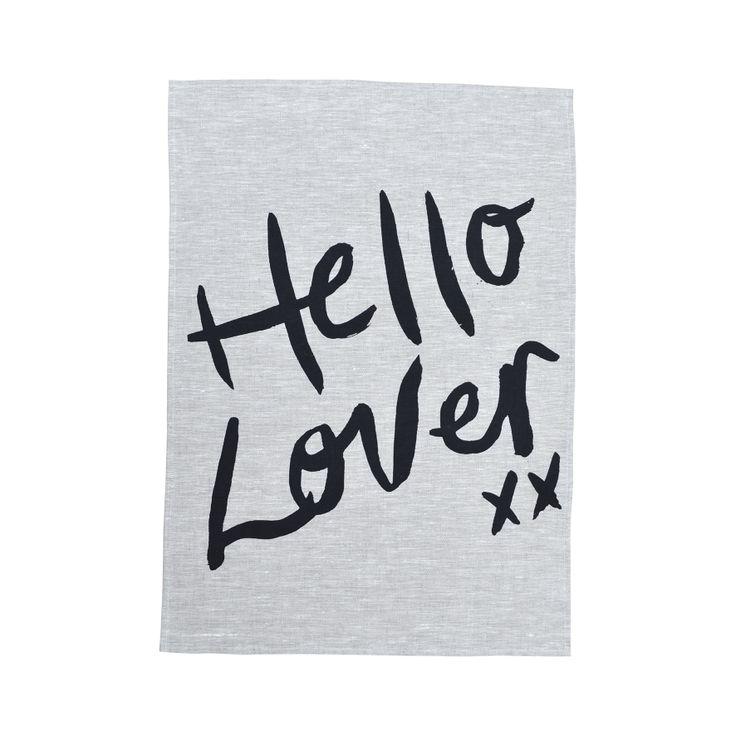 Hello Lover Tea Towel Black