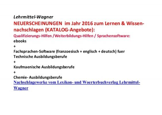 technisches englisch franzoesisch lernen ebook Preise Jahr 2016 Lehrmittel-Wagner NEUERSCHEINUNGEN