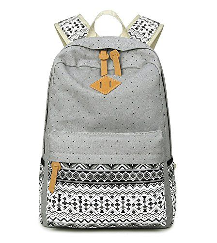 Noiner Personalized Backpacks for Teens Girls Canvas Middle School Book Bag Grey ** Read more reviews of the product by visiting the link on the image.