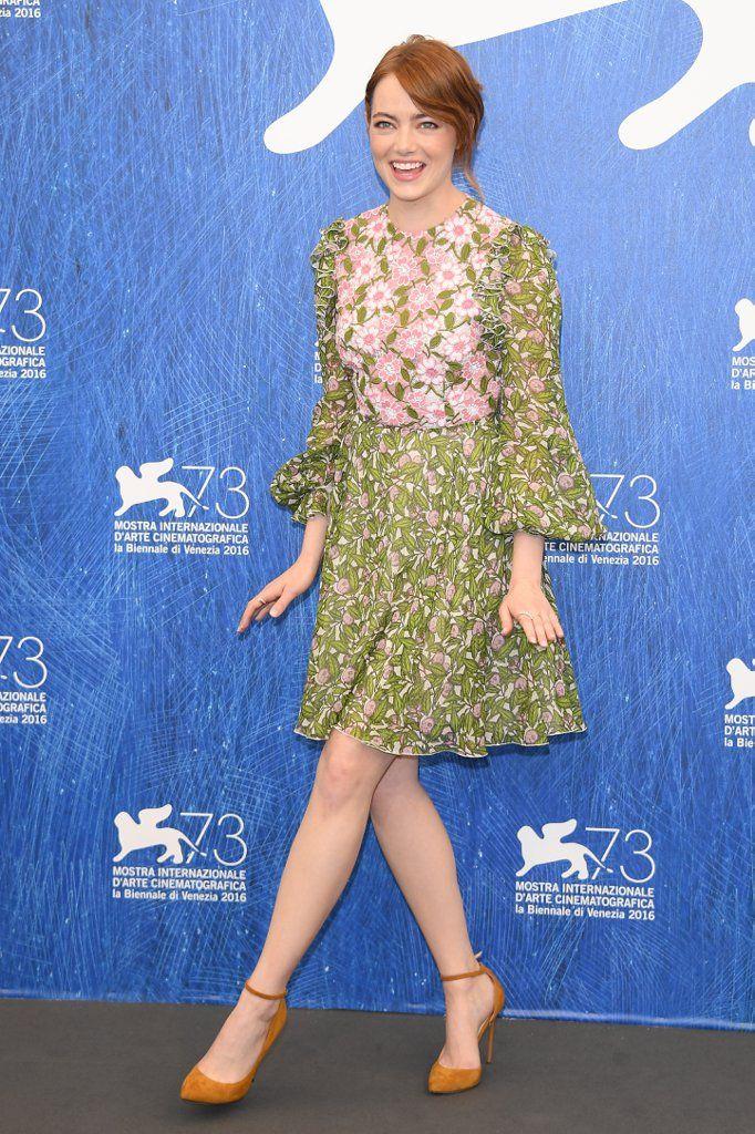"Stepping into stardom: Emma Stone in Giambattista Valli attending the photocall of her new movie ""La La Land"" at Venice Film Festival."