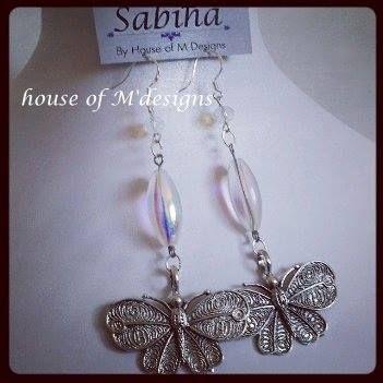 Butterfly beaded drops sterling silver hooks