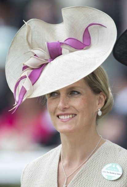 The Countess of Wessex looks so elegant in her bespoke Jane Taylor millinery hat at Royal Ascot Day 2.