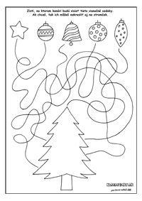 Vianočné pracovné listy - hľadáme cestičky
