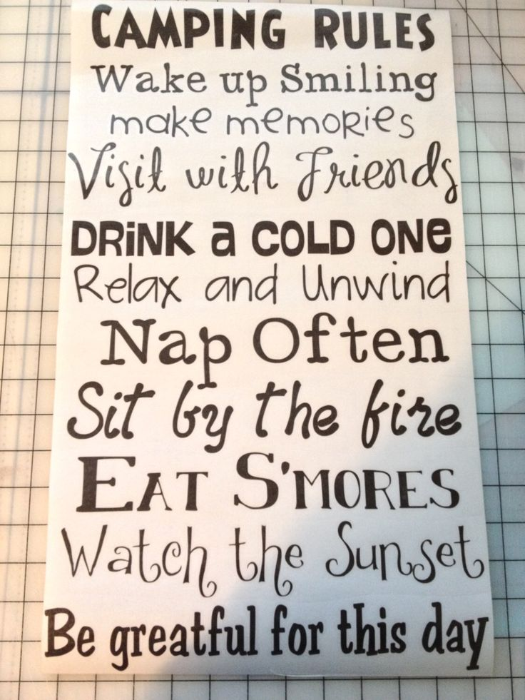 Camping Rules- Vinyl Wall Decal- Vinyl Wall Lettering by WayOutWestSigns on Etsy https://www.etsy.com/listing/210526930/camping-rules-vinyl-wall-decal-vinyl