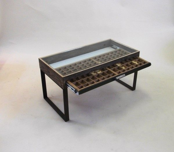 Coffee table glass top display drawer woodworking projects plans Display coffee table with glass top