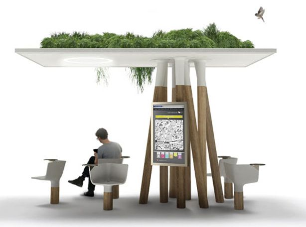 Urban Garden   Escale Num rique    a green roofed wifi connected corner of  respite on. 12 best bus shelter images on Pinterest   Bus shelters