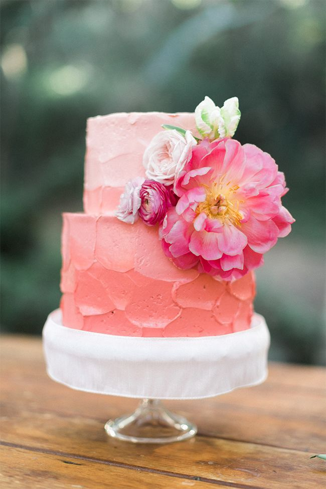 Pink Ombre Buttercream Wedding Cake with Flowers