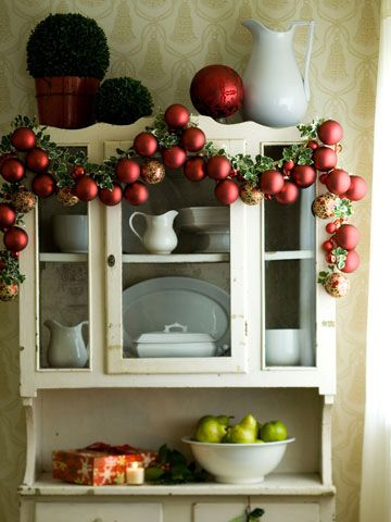 """Better Homes and Gardens, """"We love the look of this festive ornament garland."""" Me, too!"""