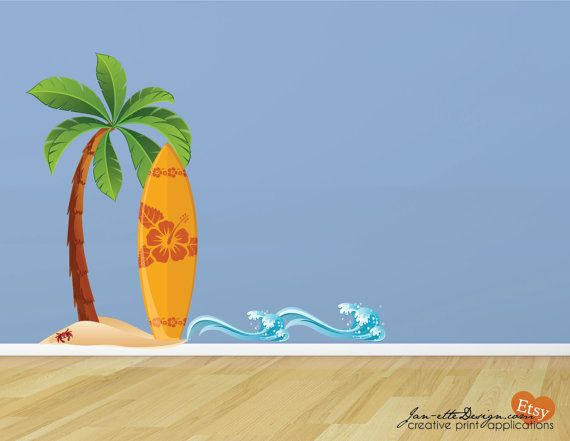 Surfboard in the Sand Fabric Wall Decal Set by JanetteDesign