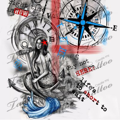 Trash polka nautical sleeve.   mermaid #209649   CreateMyTattoo.com
