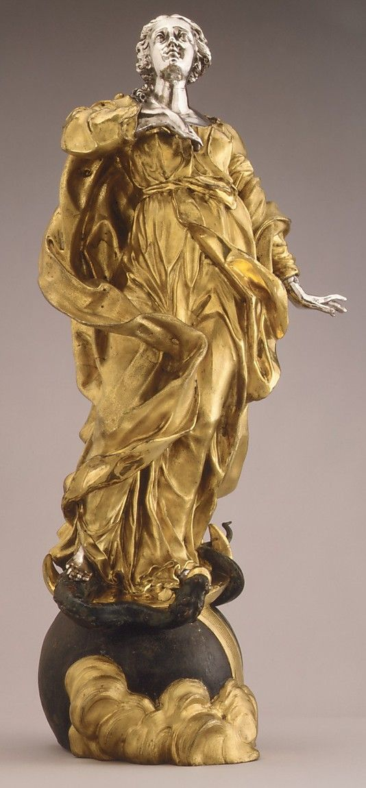 Virgin of the Immaculate Conception Probably after a model by Lorenzo Vaccaro  (Italian, 1653–1706).  Date: ca. 1680. Gilt bronze, silver, partly polychrome (76.5 x 36.2 x 24.1 cm)