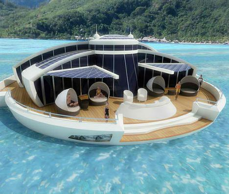 a personal, private floating island complete with Jacuzzi, kitchen, private bathrooms for each bedroom, a window in the bottom to provide a glimpse of the deep, and solar panels for all your electricity needs.