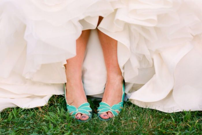 For 2014: brightly colored wedding shoes