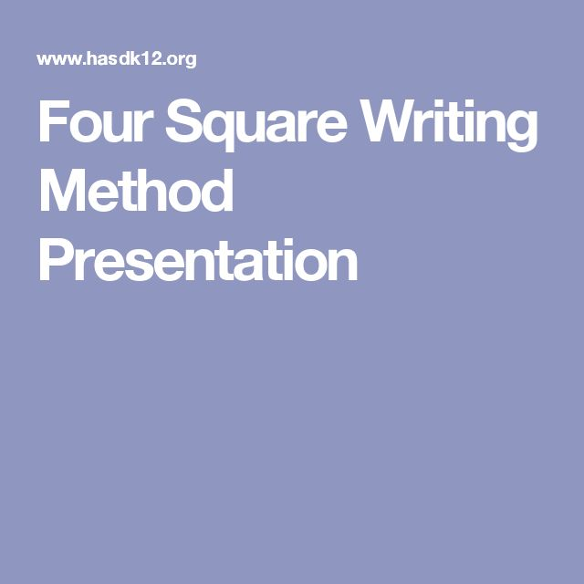 Four Square Writing Method Presentation