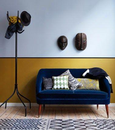 moutarde bleu nuit vif brillant marron lin bois et blanc anis Canapé bleu nuit…