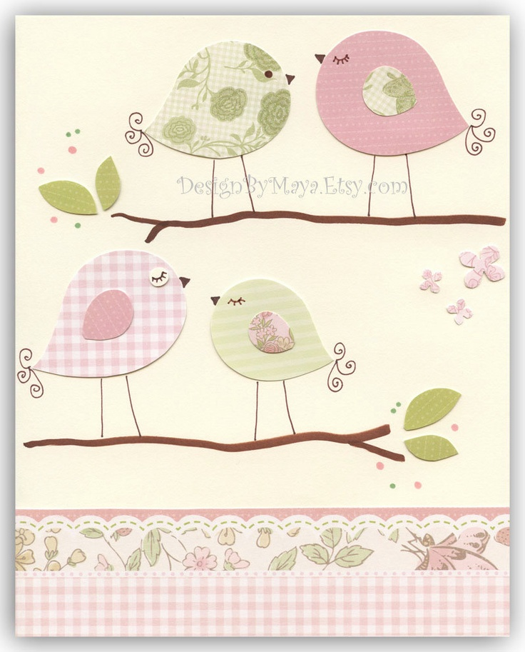 Nursery Print, Art Decor, Kids Print, birds ...Shabby chic Talking match to the colors Carousel - French Angel Toile Baby Crib Bedding