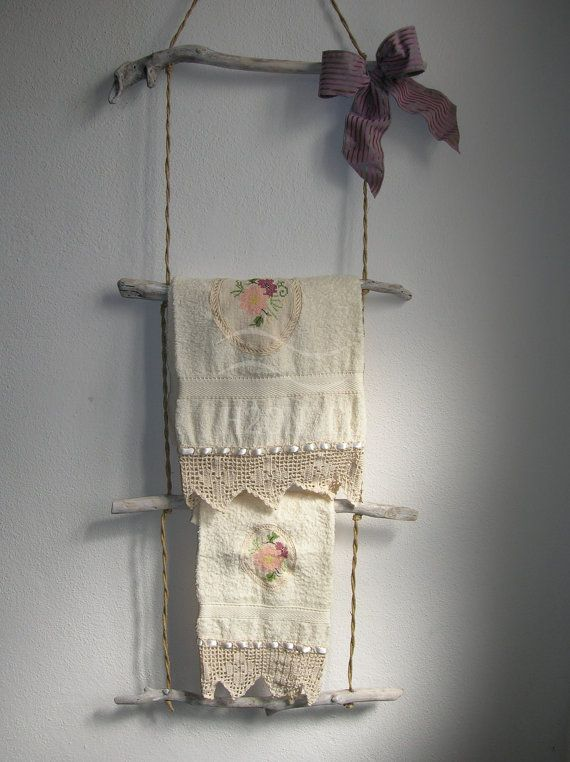Large wall mount towel rack,ladder towel rack,driftwood,bathroom decor,towel bar,shabby chic,wall hanging,white,furniture,bow, design
