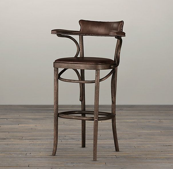 Vienna Cafe Barstool Antiqued Whiskey Leather Overall 18