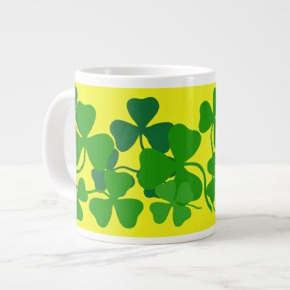 Irish shamrock green clover/yellow coffee cup 2 - saint patricks day st patricks holiday ireland irsih special party