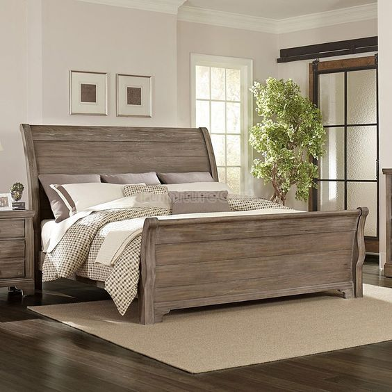 Whiskey Barrel Sleigh Bed (Rustic Gray)