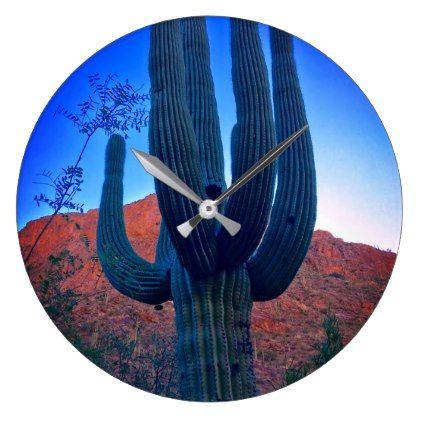 Colorful Arizona Desert Cactus Photo Wall Clock - photo gifts cyo photos personalize